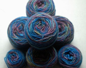 Refreshed, recycled DK weight yarn - Fleece Artist Bluefaced Leicester DK in blues/greens