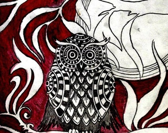 owl and moon signed print