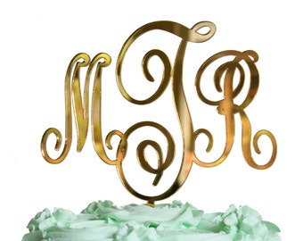 Gold Mirror Monogram Cake Topper, or Rustic Wood, Silver, Black, White, Custom Name Cake Topper