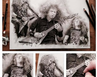ORIGINAL Hand Drawn - Charcoal pencil drawing ' Dave Mustaine - Megadeth' Size A3