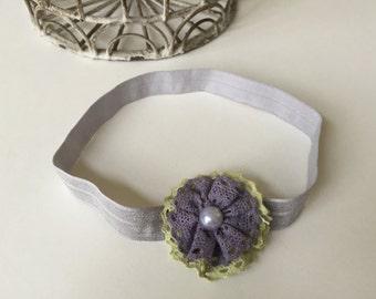 Handmade headband, purple lace headband, baby headband 3-6 months