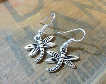 Dragonfly Metal Earrings: Silver