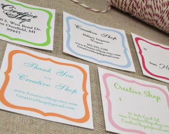 """EDITABLE Printable 2"""" SCROLL  - Address Labels, Business Cards, Hang or Price Tags, Gift Tags, - YOU change the text again and again"""