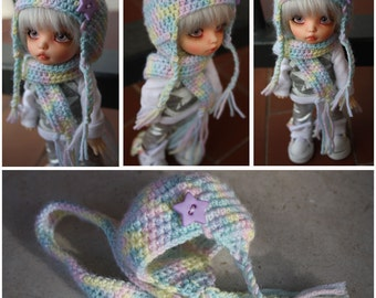 bjd hat and scarf for pukifee, yosd, msd, sd
