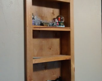 recessed wood nicknac or catchall shelf