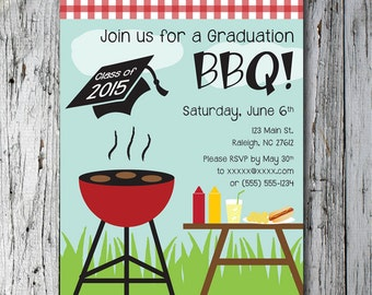 Printable customized Graduation BBQ invitation
