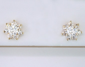 Vintage Antique Double Certified 1.02ct Diamond 18K Yellow Gold Art Deco Stud Earrings