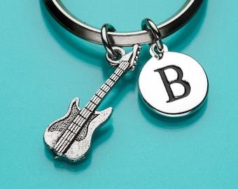 Electric Guitar Keychain, Electric Guitar Key Ring, Musical Instrument Charm, Initial Keychain, Personalized Keychain, Custom Keychain, 120