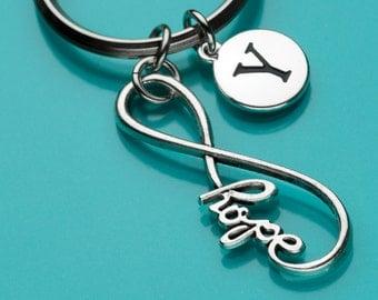 Infinity Hope Keychain, Infinity Hope Key Ring, Hope Always, Initial Keychain, Personalized Keychain, Custom Keychain, Charm Keychain, 195