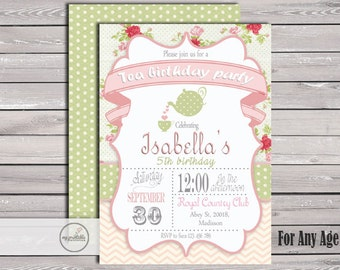 Tea Birthday Party Invitation / Digital Printable Birthday Invite for Kids / DIY
