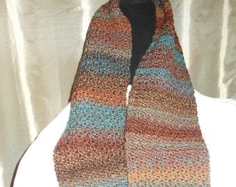 Hand Crocheted Tweedy Stripes Scarf