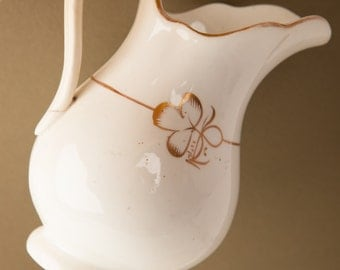 Small white jug, small white pitcher, shamrock motif, clover design, gold trim,