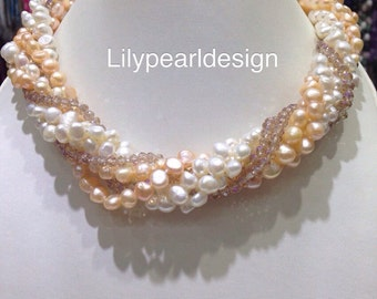 Freshwater pearl and crystal Twisted necklace