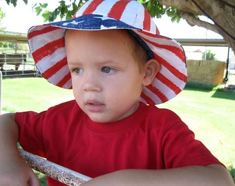 Toddlers Children Reversible Fabric Sun Hat American Made