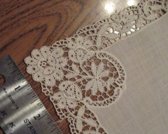 Lace white cotton handkerchief