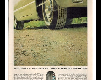 "Vintage Print Ad October 1965 : Firestone Super 500 Sports Tires Wall Art Decor 8.5"" x 11"" Print Advertisement"