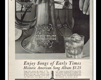"Vintage Print Ad April 1962 : Early Times Kentucky Bourbon Whisky Songs Of Early Times Album LP Wall Art Decor 8.5"" x 11"" Advertisement"