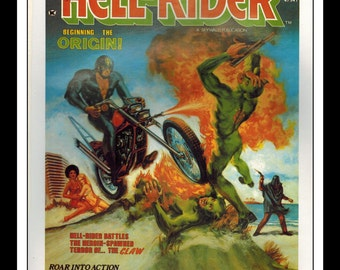 "Vintage Print Ad Comic Book Cover : Hell Rider / Super Heroes Illustration Dbl Sided Wall Art Decor 8"" x 10 3/4"""