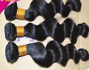 Peruvian hair extensions 3 bundles hair wefts 100g/bundle,loose wave