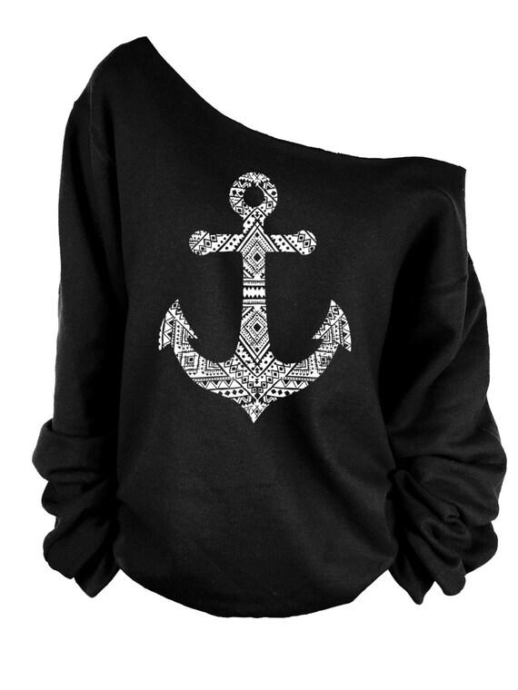 Anchor  Print oversized off shoulder raw edge  sweatshirt