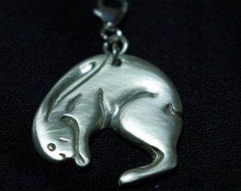 Bunny Sterling Silver pendant. Handmade.