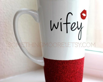 Wifey Glitter Coffee Mug - Red