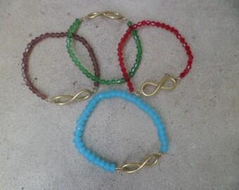 copper infinity symbol handmade glass beaded elastic bracelet