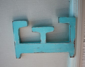 Letter E wooden turquoise blue patina to hang