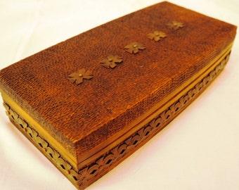 Delightfuly designed vintage wooden box