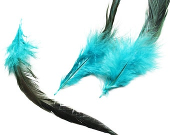 Dyed Electric Blue Saddle Badger Rooster Feathers 6-8"
