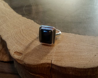 Black Onyx, Sterling Silver, Ring, Size 6 1/2 - 7, Handcrafted, Rectangle Stone, Quality, Everyday Wear
