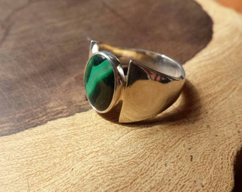 Handmade, Malachite, Men's Ring, Sterling Silver, Ring, Size 10, Unique, Durable
