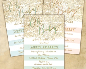 Baby Shower Invitation printable/Digital File/girl baby shower, boy baby shower, neutral baby shower, gold, glitter/wording can be changed