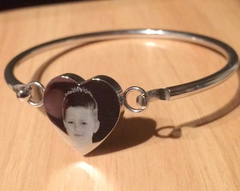 Photo Engraved Stainless Steel Heart Bangle - Reversible Heart Personalised Gift
