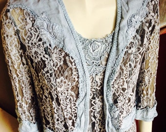 Lovely grey vintage lace dress and jacket.