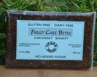 Coconut Bounty - Healthy Fruit Cake Snack for paleo, gluten-free, and vegan diet. Made from real fruits and nuts. Nothing else.