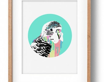 The Okay Luna 'Blue Budgie' Print A3