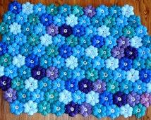 Handmade.Hand Knitting Crochet Flowers-Rug (65*45cm)