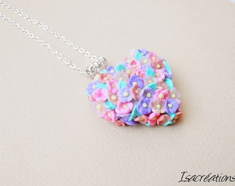necklace floral heart valentine