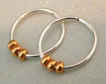 Small Sterling Silver Hoops, Silver Wire Earrings, Cartilage earrings