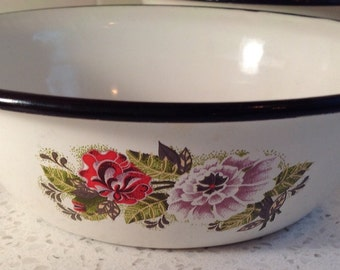 Floral Enamelware Bowls