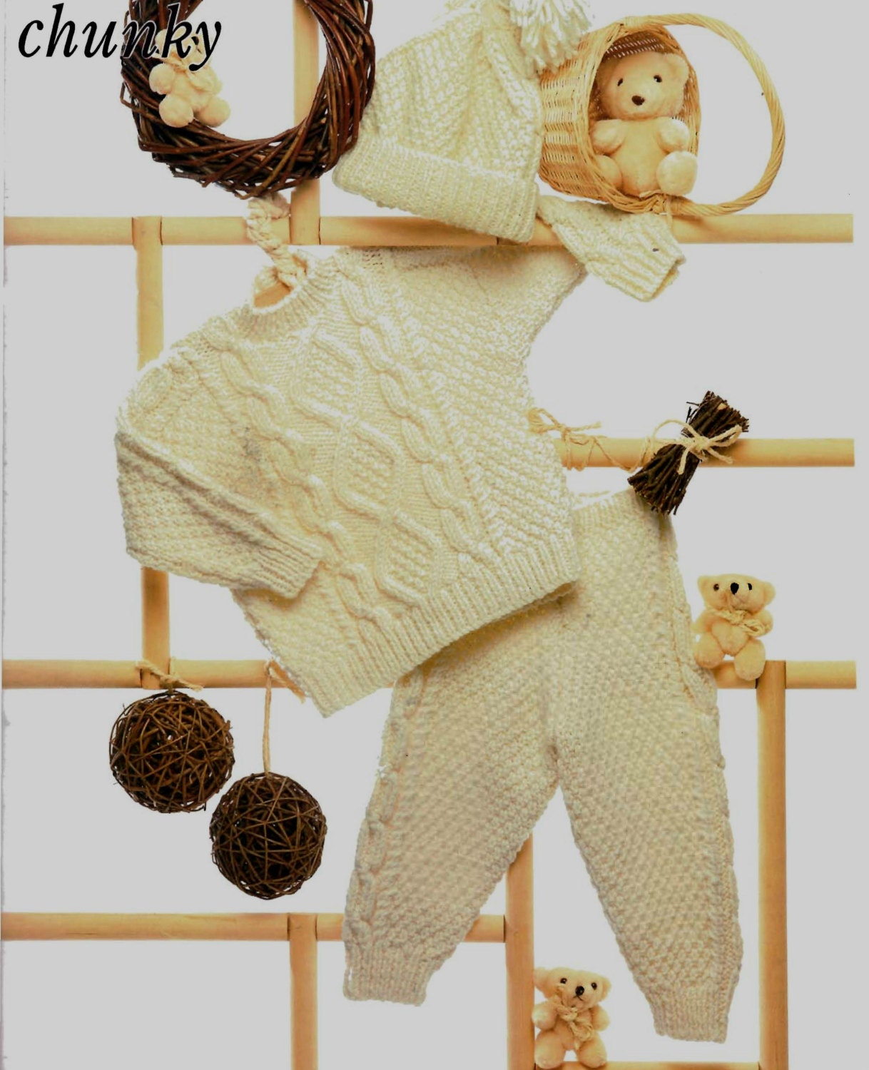 Vintage Knitting Patterns Baby Hats : Vintage Knitting Pattern Babies Aran Sweater Leggings Hat