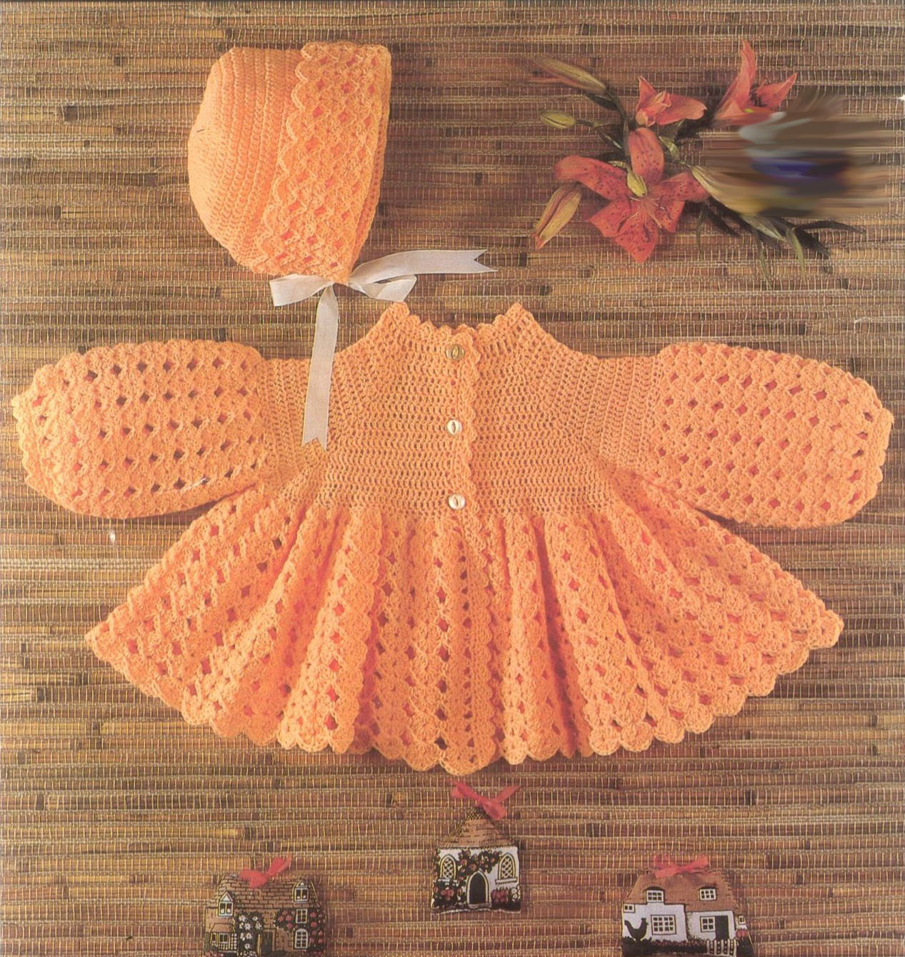 Crochet Baby Dress and Bonnet Vintage Pattern Angel Sweater