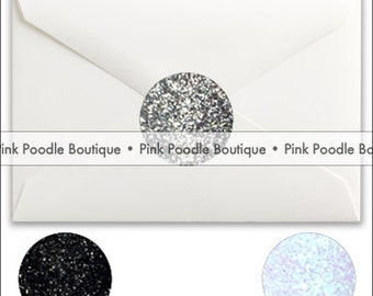 Glitter Sparkle ENVELOPE SEALS / STICKERS (10 pc)  --  for Monica