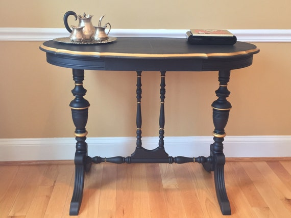 Gold Foyer Table : Black and gold hollywood regency style console table foyer