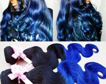 Ombre 100% human vigin Hair Extensions black roots blue Hair 3pcs/bundle body wave hair extension hair weaving hair weft
