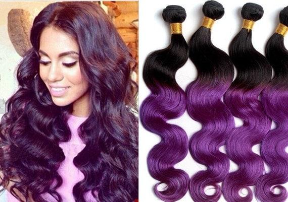 Ombre Hair Black Roots Purple Hair Body Wave Human Virgin Hair