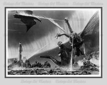 Vintage Sci-Fi / Horror Movie Poster - Godzilla: 1965 Invasion of Astro-Monster - Monster Zero Retro Ready To Hang Traditional Wall Art