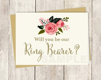 Will You Be Our Ring Bearer? Card DIY // Watercolor Rose Flower // Gold Calligraphy, Rose // Wedding Card Printable PDF ▷ Instant Download