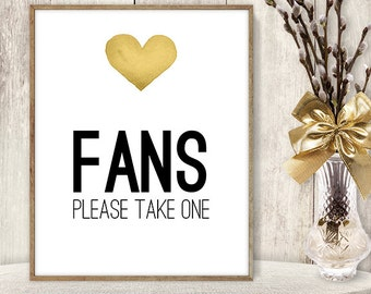 Fans Sign / Please Take One // Watercolor Wedding Sign DIY // Gold Heart, Watercolor Heart Sign, Printable PDF Poster ▷ Instant Download